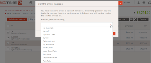 Select Invoice Subtotal Option
